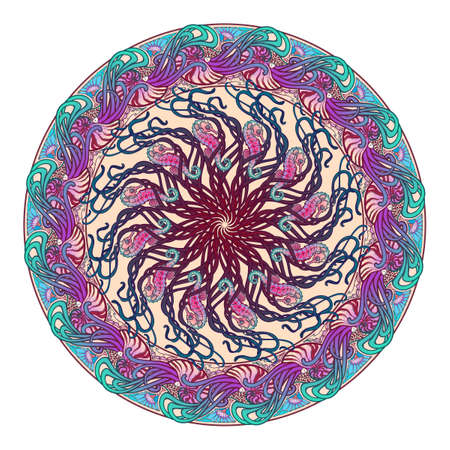 Circular ornament with Nautilus Pompilius sea horse and other sea creatures in Art Nouveau style. Intricate composition, bright colors. Mandala tatoo. Textile print.