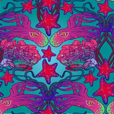 Seamless pattern with octopus, starfish and coral reef in Art Nouveau style.