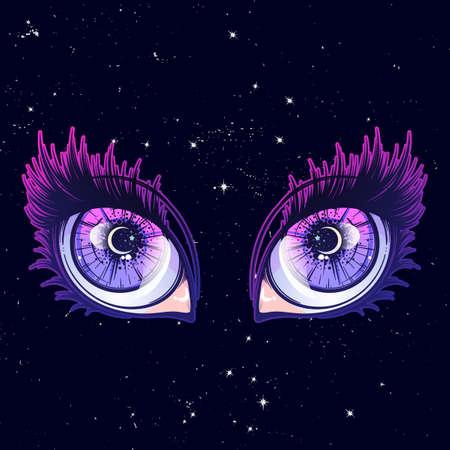 涙や反射をアニメやマンガのスタイルで目を泣いています。非常に詳細なベクトル イラスト。EPS10 ベクトル図