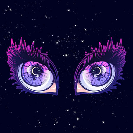 Crying eyes in anime or manga style with teardrops and reflections. Highly detailed vector illustration. EPS10 vector illustration