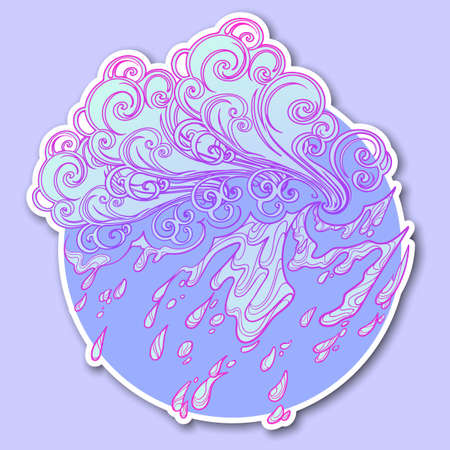 Decorative sticker. Retro style curly decorative cloud with rain drops. Decorative element for tattoo textile prints or greeting card design. EPS10 vector illustration Illustration