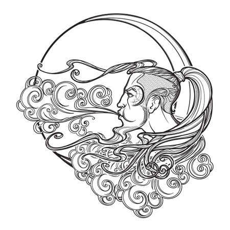 Cartografía de estilo antiguo Boreas viento icono. Cabeza masculina que se reclina sobre una nube adornada rizada y soplando el viento. Elemento decorativo para tatuajes textiles impresos. ilustración vectorial