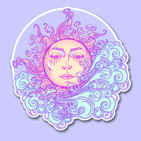 Decorative sticker. Fairytale style sun with a human face resting on a curly ornate cloud. Decorative element for tattoo textile prints or greeting card design.