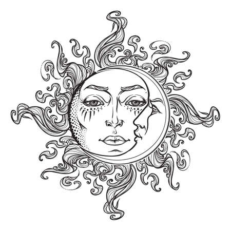 Fairytale style hand drawn sun and crescent moon with a human faces. Black and white graphic style decorative element for tattoo textile prints or greeting card design.