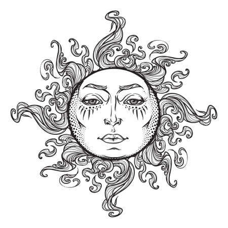 Fairytale style hand drawn sun with a human face. Black and white graphic style decorative element for tattoo textile prints or greeting card design. EPS10 vector illustration. Stock Photo