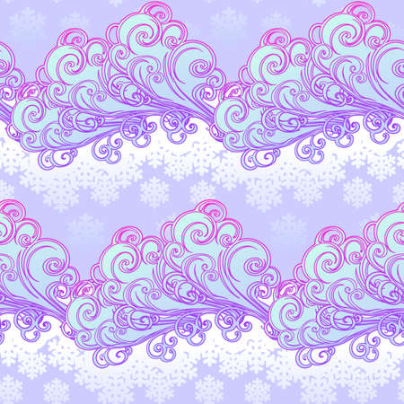 Fairytale style winter festive seamless pattern. Curly ornate clouds with a falling snowflakes. Christmas mood. Pastel palette. EPS10 vector illustration