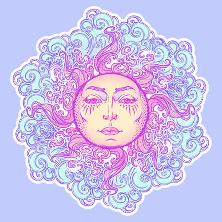 Decorative sticker. Fairytale style sun with a human face resting on a curly ornate clouds. Decorative element for tattoo textile prints or greeting card design. EPS10 vector illustration Illustration