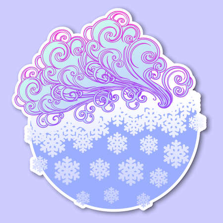 Fairytale style winter festive sticker. Curly ornate clouds with a falling snowflakes. Weather forecast icon. Christmas mood. Pastel palette. EPS10 vector illustration Illustration