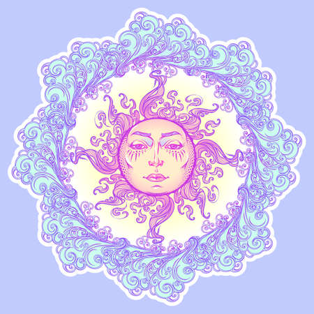 Decorative sticker. Fairytale style sun with a human face resting on a curly ornate clouds. Decorative element for tattoo textile prints or greeting card design. EPS10 vector illustration Stock Photo