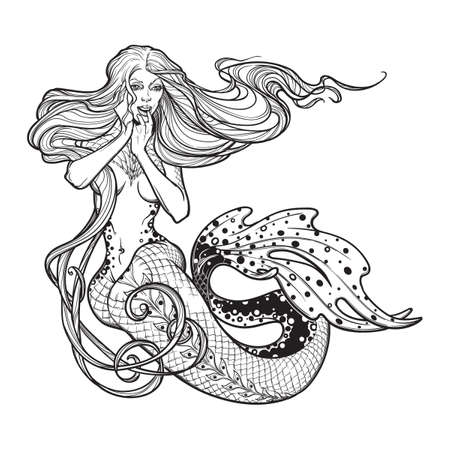 Beautiful mermaid girl sitting hand drawn artwork. Sensual and dangerous ocean siren in retro style. Sea, fantasy, spirituality, mythology, tattoo art, coloring books. Isolated vector illustration.