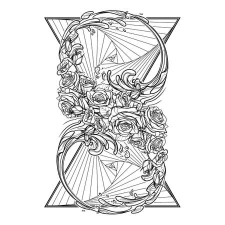 transcendent: Alchemic Element of water sign. Artistic decorative interpretation of the mathematical symbol with rose garland and water splashes. Concept design for the tattoo, colouring book or postcard. EPS10 . Illustration