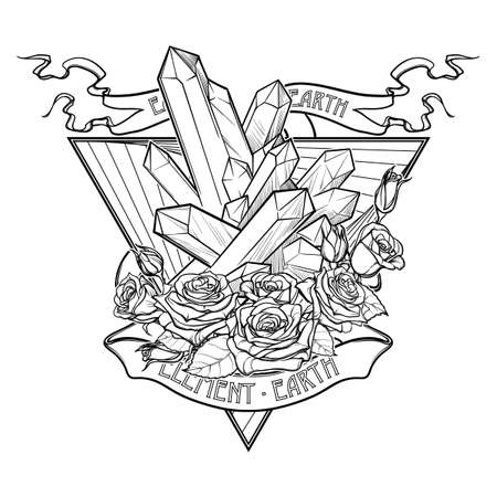 transcendent: Alchemic Element of Earth sign. Down pointing triangle with rose garland and spiky Crystals. Banner ribbon. Concept design for the tattoo, colouring book or postcard. EPS10 . Illustration