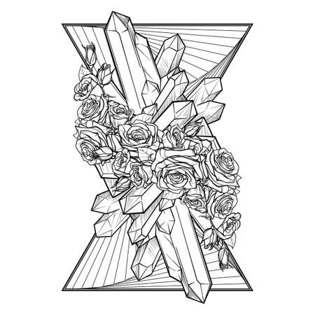 Alchemic Element of Earth sign. Vertical vignette. Down pointing triangles with rose garland and spiky Crystals. Concept design for the tattoo, colouring book or postcard. EPS10 . Illustration