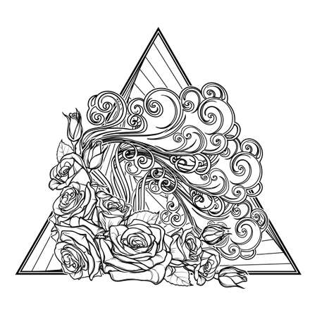 Astrology symbol - Air element. Decorative vignette with curly clouds and rose flower garland on a triangle. Linear drawing isolated on white. Concept design for the tattoo, colouring book or postcard Illustration