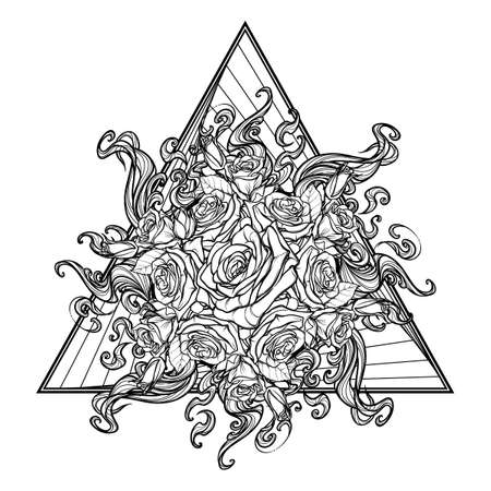 holy book: Alchemic Element of Fire sign. Triangle pointing up with rose garland and sun flares. Concept design for the tattoo, colouring book or postcard. EPS10 vector.