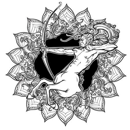 궁수 자리 조디악 로그인 태양 플레어 및 해바라기 꽃잎 장식 프레임. 점성술 개념 예술입니다. 문신 디자인. 게이 핀 스타일. 선형 드로잉 흰색 배경에