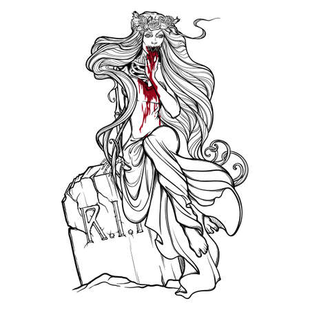 Dead bride. Zombie girl with a sewn up mouth, blood stained hands and dress sitting on a tombstone. Black and white linear drawing isolated on a white background. Illustration