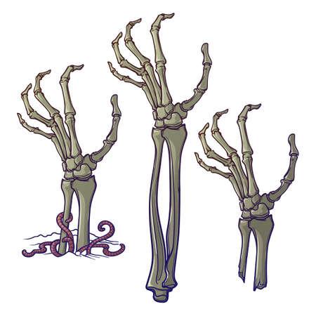 ゾンビの手が離れて引き裂かれ地面からの上昇のペア。不規則な肌、突き出た骨ひびの入った爪と腐敗のフラッシュのリアルな描写。コンセプチュ