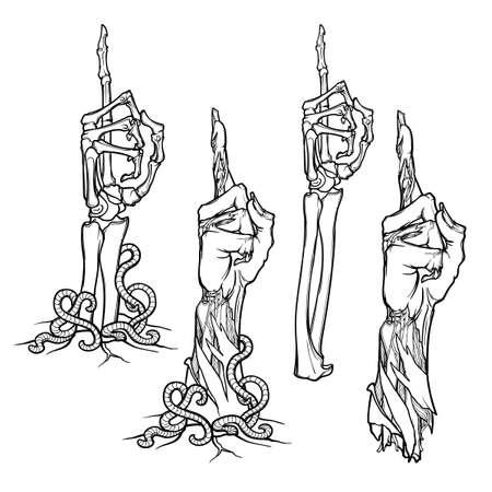 ゾンビ ボディーラン ゲージ。リアルのセットには、ゾンビの手が腐敗と骸骨の手を離れて引き裂かれ地面の下から上昇が描かれています。白い背景  イラスト・ベクター素材