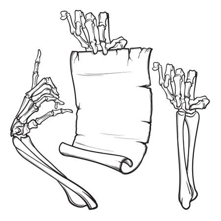 Halloween design elements with skeleton hands and paper scroll.