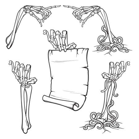 Skeleton hands icon.