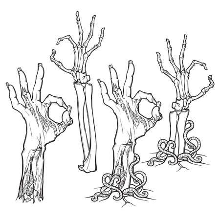 Zombie Hand OK Zeichen Set