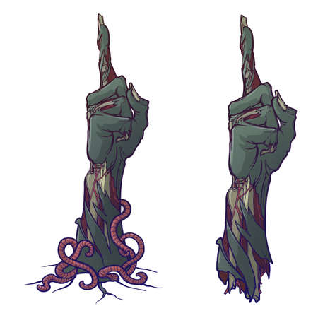 Zombie Hand Pointing finger up Illustration