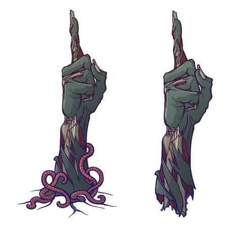 Zombie Hand zeigt mit dem Finger nach oben