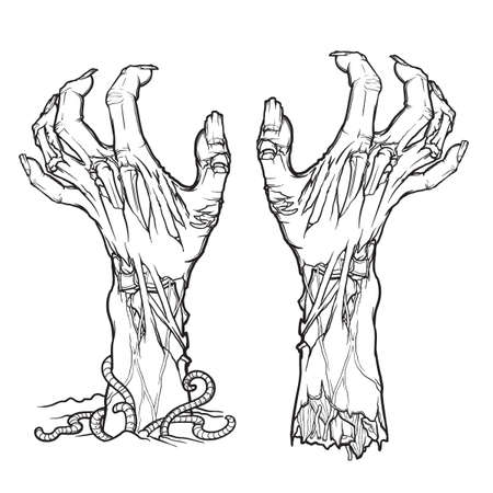 Pair of zombie hands rising from the ground