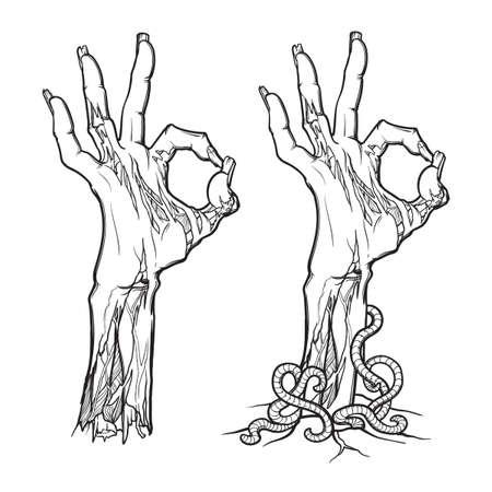 muestra del zombi mano ok Ilustración de vector