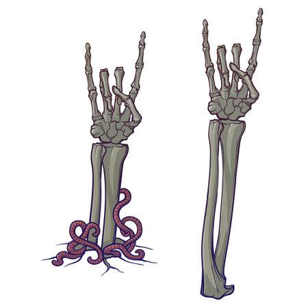 ゾンビ ボディーラン ゲージ。角のサイン。骸骨の手を離れて引き裂かれ地面からの上昇のペア。線形描画に孤立した白い背景が描かれています。EPS