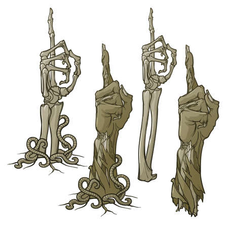 Zombie body language. Pointing finger up. Set of lifelike depicted rotting zombie hands and skeleton hands rising from under the ground and torn apart. Monochrome drawing isolated on white background