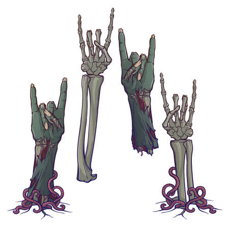 Zombie body language. Sign of the horns. Set of lifelike depicted rotting zombie hands and skeleton hands rising from under the ground and torn apart. Painted linear drawing isolated on white Illustration