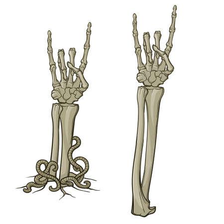 ゾンビ ボディーラン ゲージ。角のサイン。骸骨の手を離れて引き裂かれ地面からの上昇のペア。モノクロ図面は、白い背景で隔離。EPS10 ベクトル