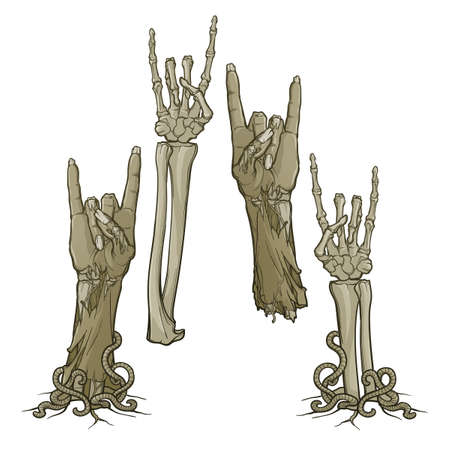 Zombie body language. Sign of the horns. Set of lifelike depicted rotting zombie hands and skeleton hands rising from under the ground and torn apart. Monochrome drawing isolated on white background