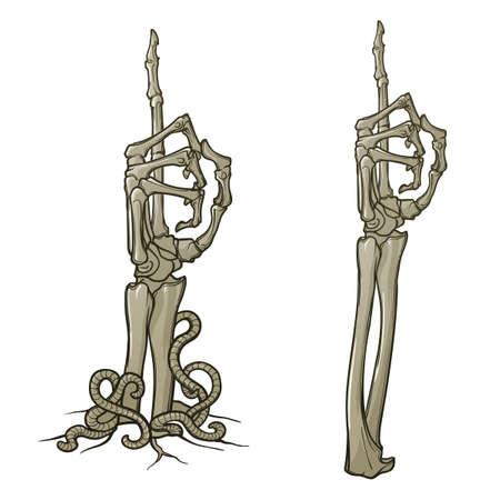 ゾンビ ボディーラン ゲージ。指を上向きにします。骸骨の手を離れて引き裂かれ地面からの上昇のペア。Monochorme の図面は、白い背景で隔離。EPS10   イラスト・ベクター素材
