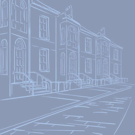 Streets of London. Typical london victorian terraced street panorama.