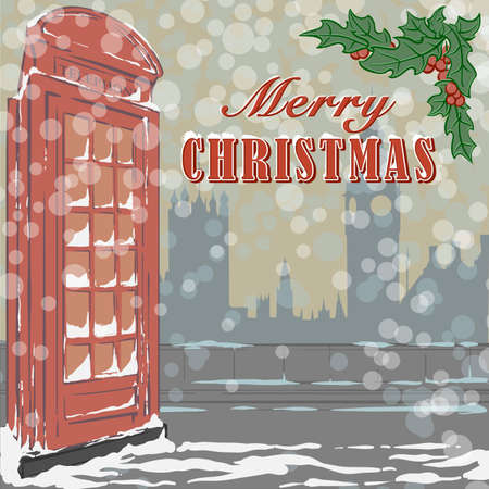 Christmas greeting card with famous red London telephone booth and holy branch.