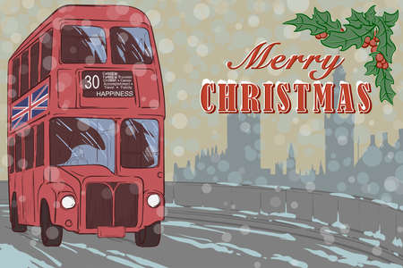 Christmas greeting card with famous red London double-decker bus and holy branch. Illustration