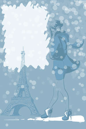 Winter graphic design with Eiffel tower and a young beautiful girl.