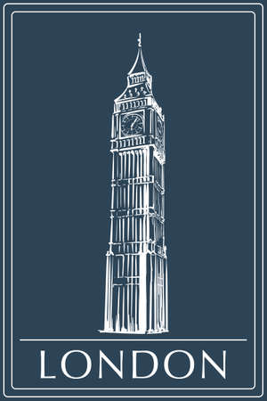 Big Ben drawn in a simple sketch style. Isolated contour on a dark blue background.