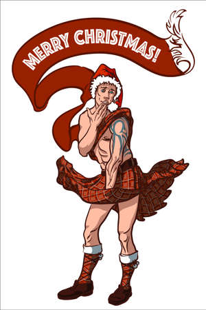 Merry Christmas card with a naughty Scotsman wearing traditional red kilt and Santas hat. Фото со стока