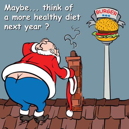 grosse fesse: Carte de voeux: Conseils de santé du Nouvel An du Père Noël. Banque d'images
