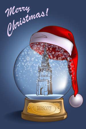 A realistic Snow Globe with a sketchy Kremlin model inside and Santa hat on top. Christmas greeting card  design. Stock Photo