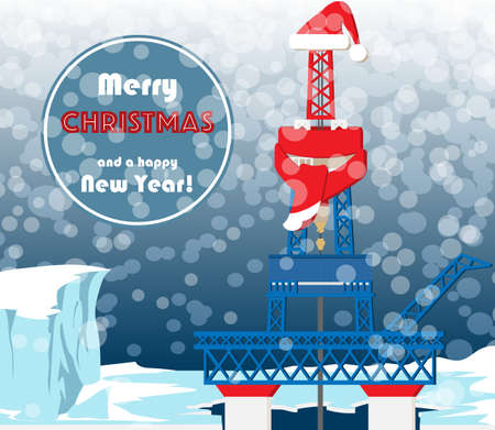 Christmas greeting card for oil and gas industry workers. Typical oil mining platform with drilling tower located on the Arctic shelf. EPS10 illustration Stock Photo