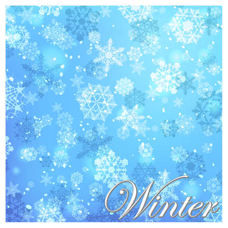 Simple but cute winter backgrount with various white snowflakes. EPS8 illustration.