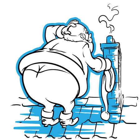 ironic: Fat Santa is confused about getting into the narrow chimney. EPS8 illustration.