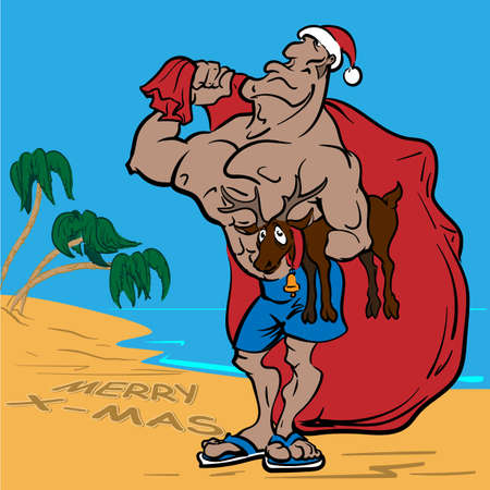 ironic: Muscular bodybuilder Santa wearing swimming shorts and slippers and holding a reindeer under his arm. EPS8 illustration.