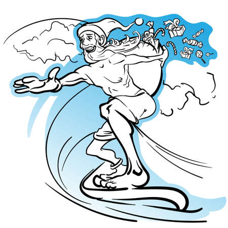Careless slim Santa surfing the wave and loosing the gifts from his huge sack. EPS8 illustration.