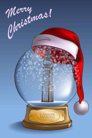 A realistic Snow Globe with a sketchy Big Ben model inside and Santa hat on top. Christmas greeting card  design. EPS10 vector illustration.